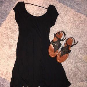 Acemi Swoop Neck Black Dress